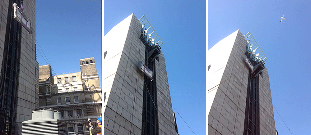 Triptych winched up to the 9th floor.